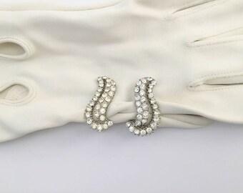 Vintage Earrings, Rhinestone Earrings, Clip Style Earrings, Costume Jewelry, Mid Century, Evening Wear, Rhinestone Clips, Swirl Earrings