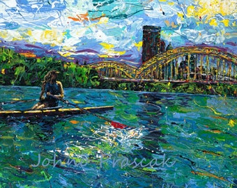 Water Sports, Rowing art, River art, on the water, Pittsburgh Artist, Black n Gold, Three Rivers Pittsburgh,  by Johno Prascak