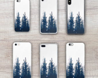 Watercolor Treeline Nature Print iPhone 5, 5s, 6, 6 Plus, 6s, 6s Plus, 7, 7 Plus, 8, 8 Plus, X Case