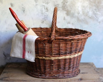 Extra Large French Rustic Vintage Wicker Shopper Shopping Sewing Knitting Storage Basket