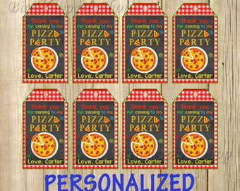 Pizza Party Favor Tag, Pizza Thank You Tags, Personalized, Digital File