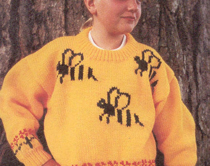 eweCanknit Pattern 161: Bumblebees cardigan sweater knitting pattern child's sizes 2-8 uses worsted weight yarn