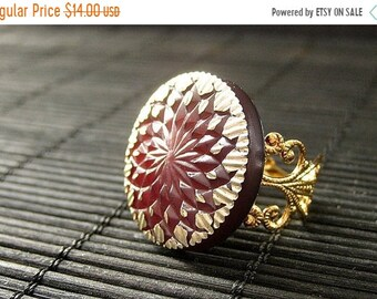MOTHERS DAY SALE Maroon Button Ring with Golden Sun Design. Dark Red Ring. Gold Adjustable Ring. Handmade Jewelry.