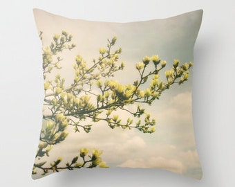 Throw Pillow Cover Daydream Yellow Magnolia Spring Floral Sky Clouds Shabby Chic Cottage Photo Case Couch Bed Home Bedroom Decor