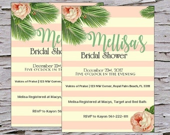 Blush Sage Ivory Bridal Shower Invitation, Garden Shower, High Tea, Rustic Baby Shower, Bridal Shower,   Invite, Modern, DIY, Digital File