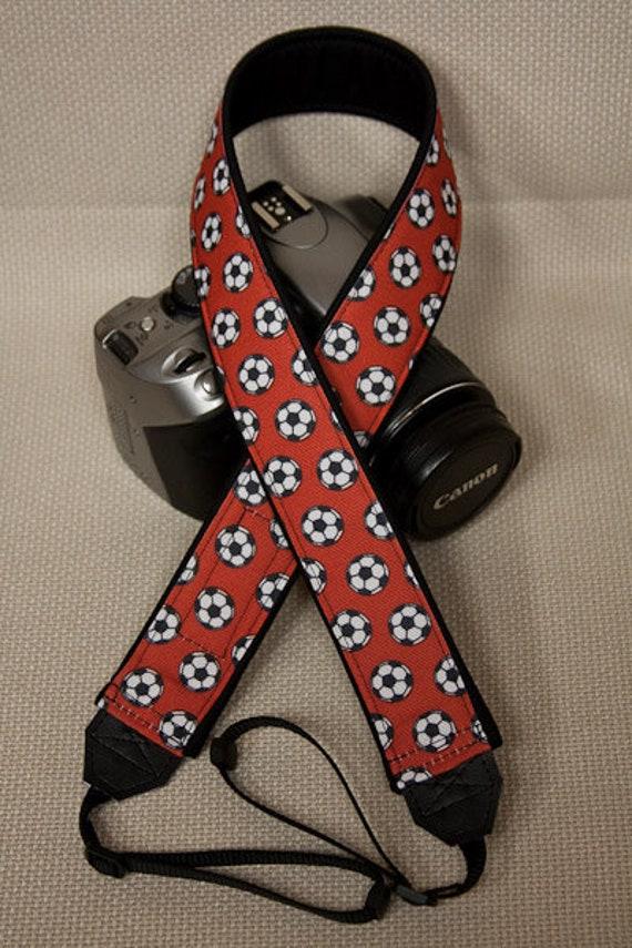 "Camera Strap Soccer Balls on Red in 1.5"" Wide Custom Padded Fits DSLR SLR 309"