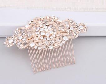 Wedding Hair Accessories, Rose Gold Bridal Hair Comb, Crystal Bridal Headpiece, Art Deco Bridal Hair Comb, Rose Gold Wedding Hair Comb Bride