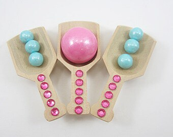 Mini Wooden Scoops with Pink Rhinestones, Candy Buffet, Wedding, Wooden Scoop, Candy scoop, hot chocolate bar, Kid's Birthday, bath salts