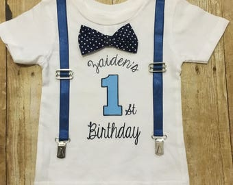 First birthday shirt with suspenders