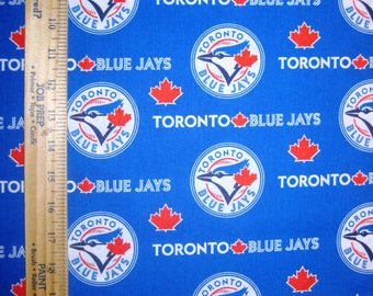 MLB Logo Toronto Blue Jays 6676B Blue & Red Cotton Fabric by Fabric Traditions! [Choose Your Cut Size]