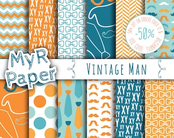 "Orange Digital Paper: ""Vintage Man"" digital paper pack & backgrounds with mustache, tie, glasses, hat in orange, blue teal and white"