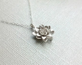 Silver Lotus Flower Necklace,Simple Everyday Necklace,Sterling Silver Chain, Water Lily Flower Pendant, Bridesmaid Gift, Good Luck Charm