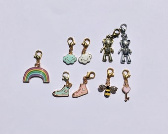 Planner charms - Planner accessories - cute charms - stationary - Rainbow - Teddy bear - Bee - Happy Cloud - High top - Metal charm