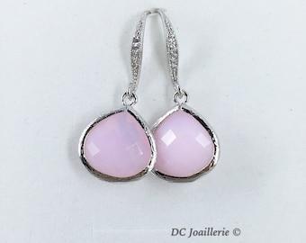 Pink Glass Drop Earrings Bridesmaid Earrings  Pink Earrings Bridesmaid Gift Bridal Party Gift Wedding Jewelry Drop Earrings