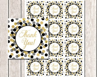 Black and Gold Thank You Tags Printable Birthday Party Favors Baby Shower Thank You Favor Tags Black Gold Thank You Tags INSTANT DOWNLOAD
