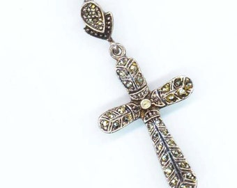 Vintage Cross . Medium Sterling Silver Cross. Marcasite Cross . Easter Jewelry . Christmas Holidays - Holly Cross by enchantedbeads on Etsy