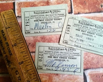 Vintage B & O Train Tickets from the 1940s