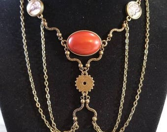 """15"""" Red Jasper cabochon necklace with key toggle ends"""