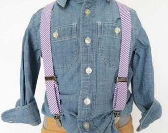 Purple Lilac Seersucker Suspenders