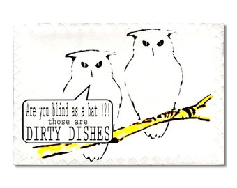 Dishwasher Clean Dirty Magnet flip Sign Owls funny birds NOW Stainless Steel Option Wife Gift