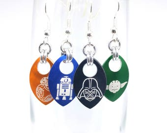 Star Wars Aluminum Scale Earrings - Choice of 6 Designs