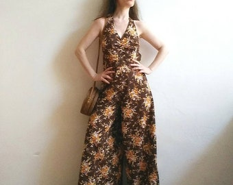 Sweet Jane ~Vintage 70s Groovy Jumpsuit with Super Wide Leg and Floral Print. Hippie Bohemian Style