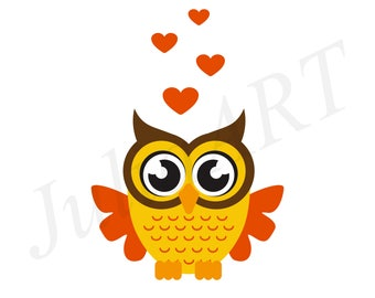 cartoon owl with heart. cartoon owl on the branch vector image