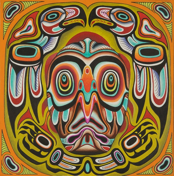 Psychedelic Hawk Totem Print Wall Art Trippy Art Native