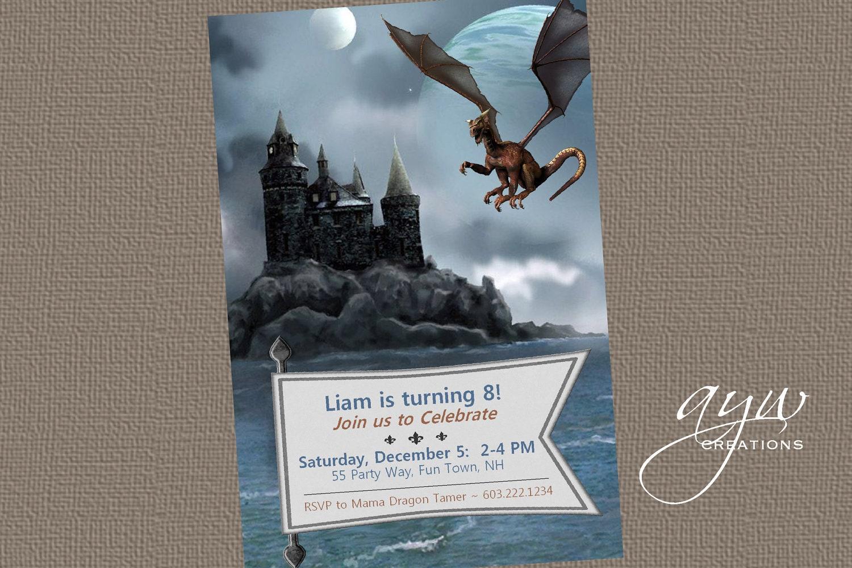 Dragon Birthday Party Invitation Printable Dragon Invitations