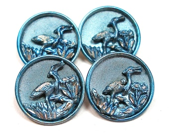 1800s French BUTTONS, 4 Victorian birds with BLUE tint, unused.