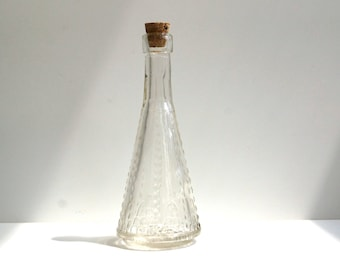 """Decorative Clear Glass Bottle with Cork """"Pyramid Bottle"""" (5"""" tall), Style 10 - Small bottle perfect for spices, bath salts,  vases, and more"""