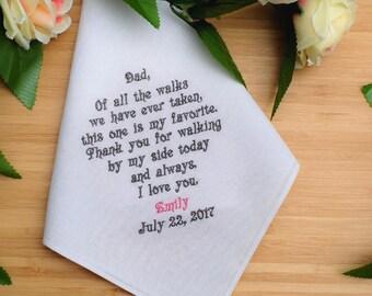 Custom Personalized Handkerchief, Father of the Bride Gift, Custom Handkerchief for Dad, Wedding Handkerchief. Linen handkerchief .