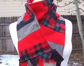 Well known plaid wool manufactur upcycled Wool and Minky Scarf