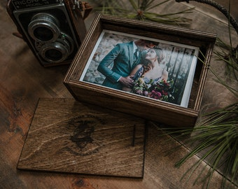 Set of 8 - (save 2 dollars per box) 4x6 Wood print box with enough space for 4x6 prints