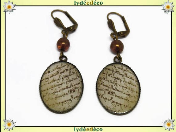Earrings retro resin beige parchment Scripture and sepia bronzeet brass resin 18x25mm