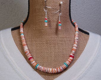 Orange Spiny Oyster Shell, Turquoise & Red Coral 925 Silver Necklace and Earrings