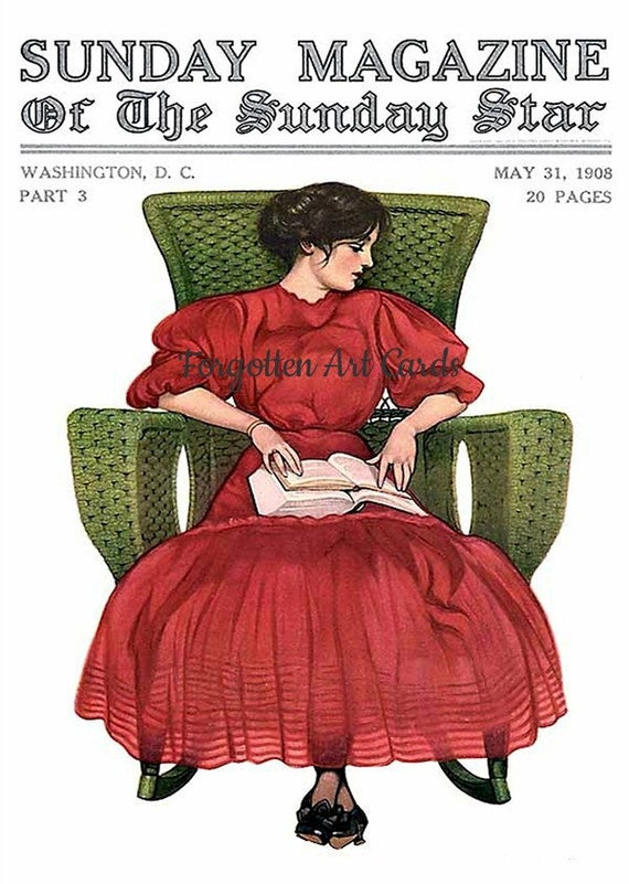 "Red Dress Green Chair Coles Phillips Fadeaway Lady 5""x7"" Greeting Card + Envelope Sunday Magazine Cover May 31, 1908 Forgotten Art Card"