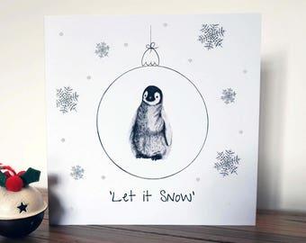 Penguin Glitter Christmas Card