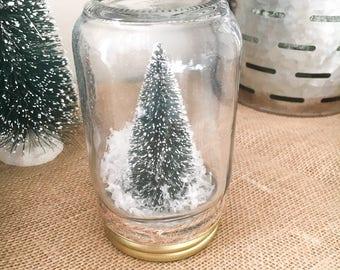 Bottlebrush Tree Mason Jar Snow Globe