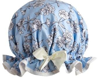 Sky Blue Summer Flowers Luxury Shower Cap