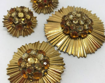 RARE Adele Simpson 4 piece Set Brooches Earrings Costume Jewelry at its Best  Gold Plate over Sterling Sunburst  #72