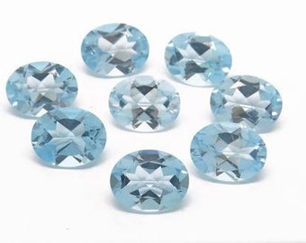 5 pieces sky blue topaz faceted oval shape   gemstone