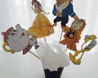 5 Piece Beauty and the Beast Disney Princess Centerpiece, Princess Birthday, Princess Party Decor, Princess Decorations, Topper, Centerpiece