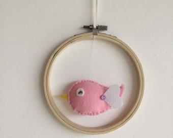 Wall decor, baby/toddler felt Bird House