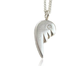Angel wings sterling silver pendant, gifts for baptism, wedding, birthday, gifts for her