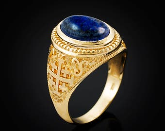 Gold Jerusalem Cross Lapis Lazuli Gemstone Statement Ring (yellow, white, rose gold, 10k, 14k)