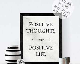 Positive Thoughts Positive Life, marble effect printable wall art, modern inspirational quote print,