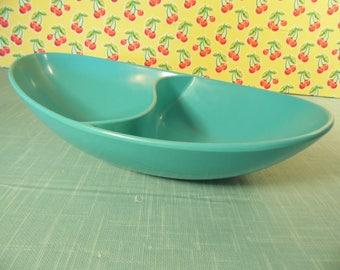 Vintage Melmac Divided Serving Bowl - Turquoise - Spaulding Dinnerware - Atomic