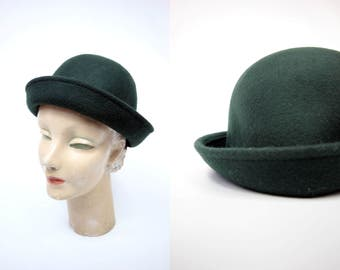 1950's Forest Green Wool Hat