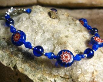 Blue Millefiori & Catseye Bracelet, Handmade Jewelry,Cobalt Blue, Gifts for Her from The Hidden Meadow